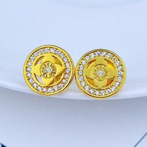 Henri Bendel Zircon Lucky 4 Leaf Petal Earrings